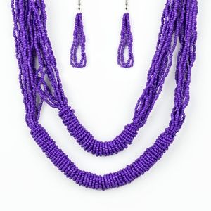 Purple necklace/earrings paparazzi